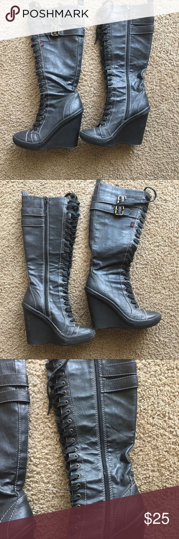 Big Buddha dark zip up Biker wedge boots These are either very dark charcoal grey or a lighter shade of black. These are not dark solid black. Size 7.5M . Light scuffs shown in pictures Big Buddha Shoes Wedges