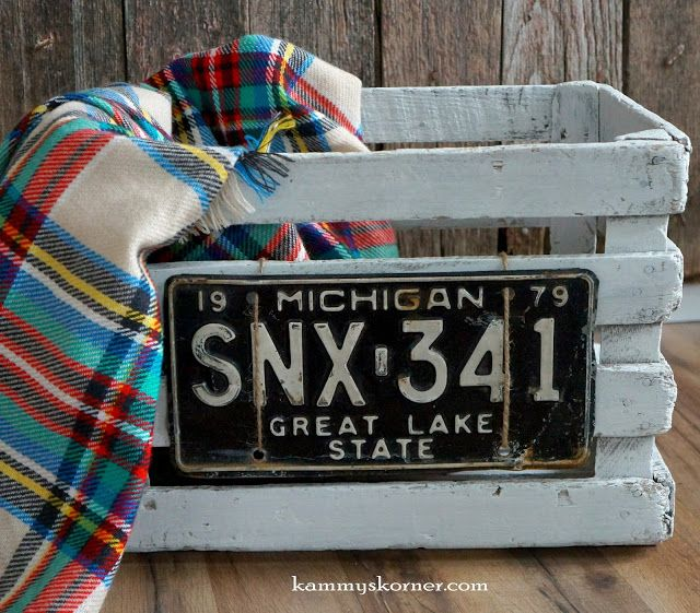 Kammy's Korner: Old Crate, Vintage License Plate with jute rope