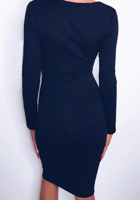 703cc91fffa Black Cut Out V-neck Long Sleeve Fashion Midi Dress in 2018 ...