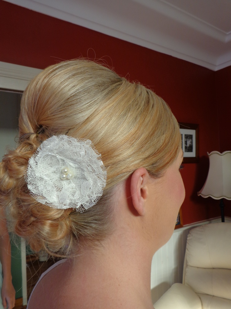 Gorgeous pinned in curled bun.