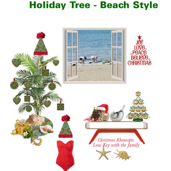 """""""Holiday Tree - Beach Style"""" by khoncepts. Nice low key Palm Christmas tree with my red and green ornament design."""