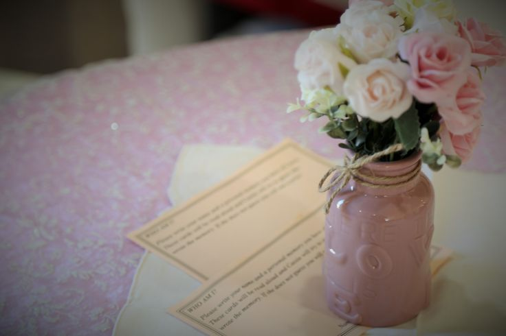 A fun game for a bridal shower - guests write down a memory they have had with the bride and then the bride has to guess which memory is allocated to each guest. Great memories and keepsakes for the bride.