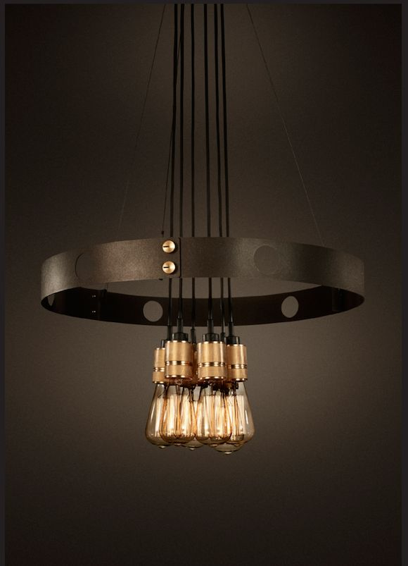 Steel and brass holder chandelier with heritage filament bulbs