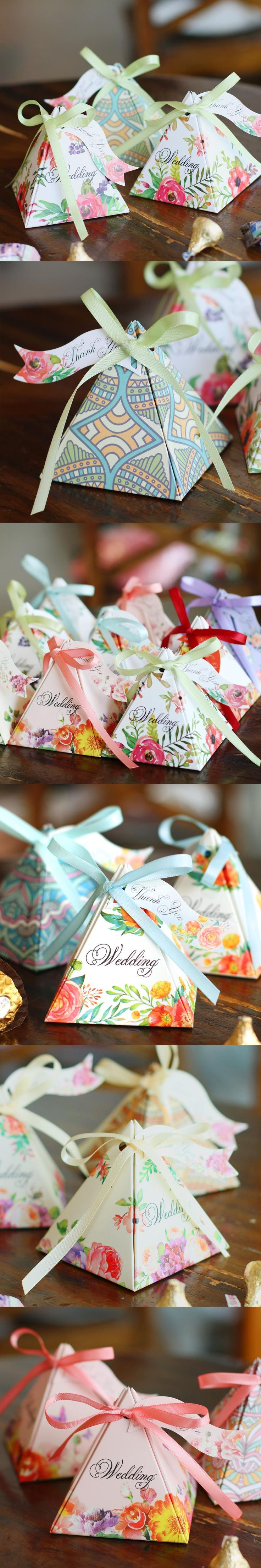 wedding shower thank you note for gift card%0A triangular flower ribbon wedding candy box favor box supplies Doublefaced  Gifts Box With   Thank You   Cards  u     Ribbons