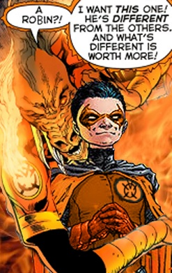 Larfleeze will have everything! An Aqualad! A Kid Flash! Give me your Super Dog! He will bring Larfleeze his paper!