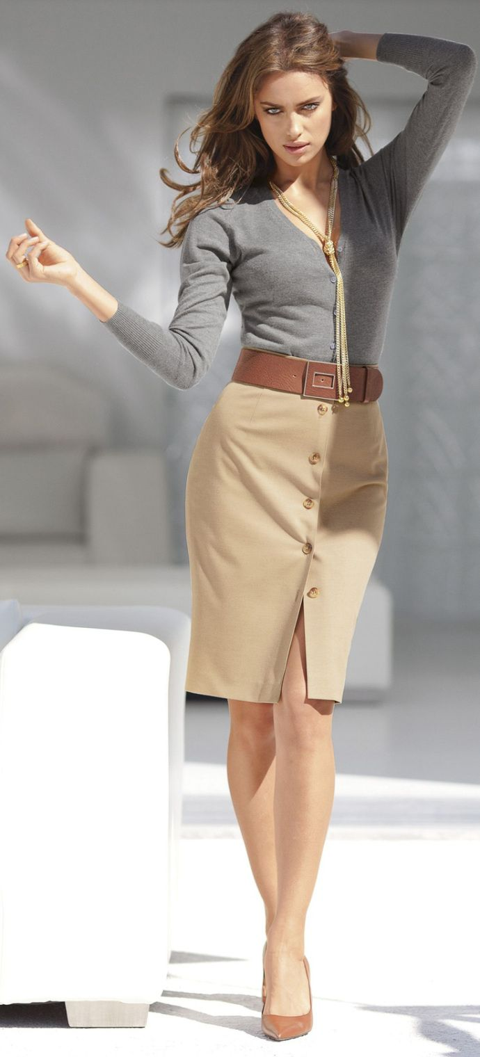 gray top and beige skirt