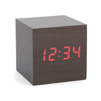 I LOVE this! Alarms are always ugly and this is too cool. Wood veneer with red LED digital time. Clap your hands to make red LED time appear//this would look awesome in my room.