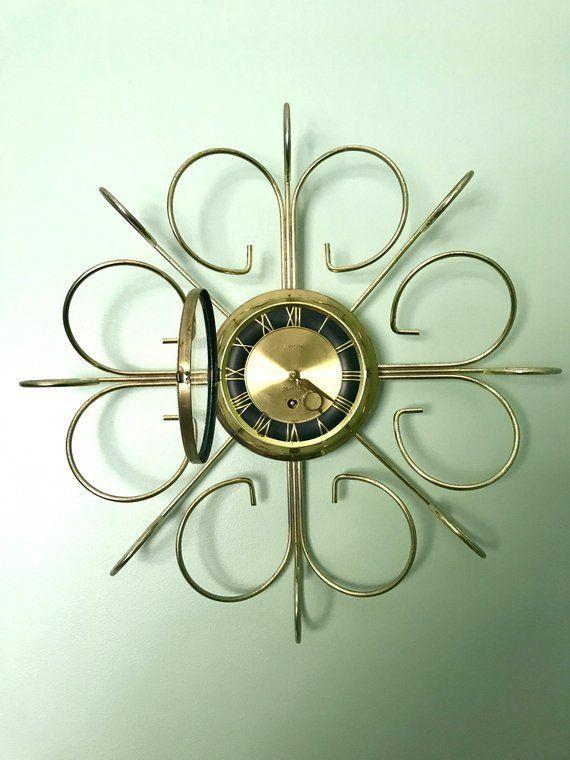 Vintage Retro Starburst Wall Clock Gold Sunburst Eight Day Wind Up Clock Mid Century Modern Wall Clock Brass Retro Modern Wall Clock In 2020 Mid Century Modern Wall
