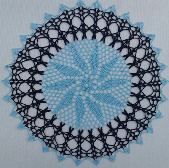 """Navy blue and light light blue doily 12 inches in diameter, 12"""" baby blue with navy"""