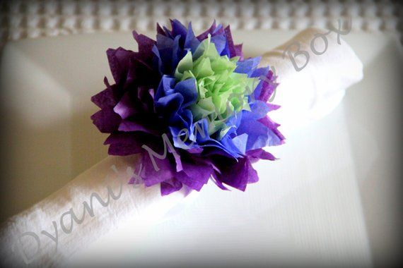 CHOOSE YOUR COLORS – 12 Handmade Tissue Paper Pom poms Napkin Holders