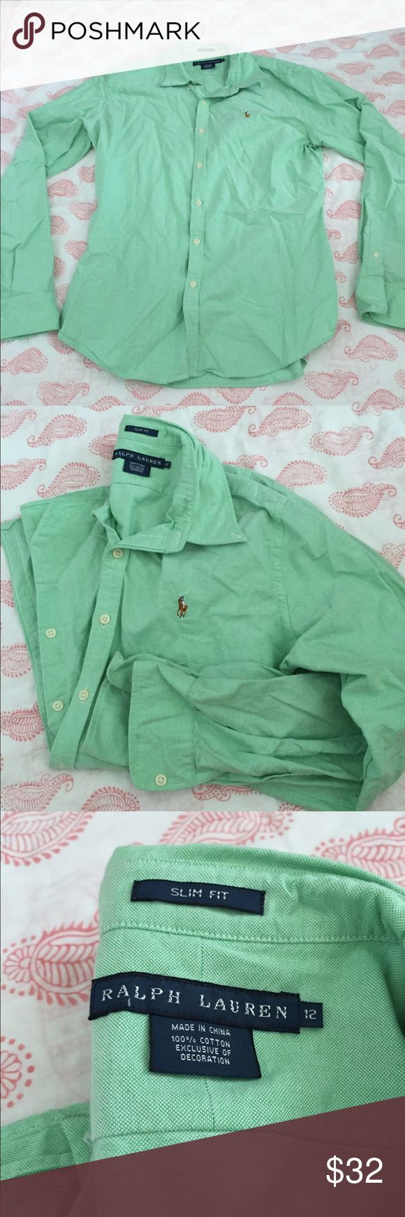 Ralph Lauren Slim Fit Button Down Oxford Light green women's Oxford polo. Excellent used condition. Ralph Lauren Tops Button Down Shirts