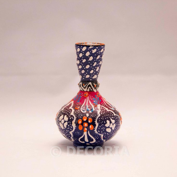 Small Vase - Blue & Red (long) - DECORIA HOME & GIFT
