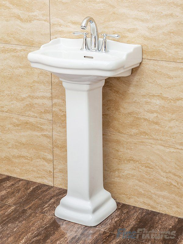 Vitreous China Ceramic Material Fine Fixtures Roosevelt White Pedestal Sink 8 Inch Faucet Spread Hole Tools Home Improvement Kitchen Bath Fixtures