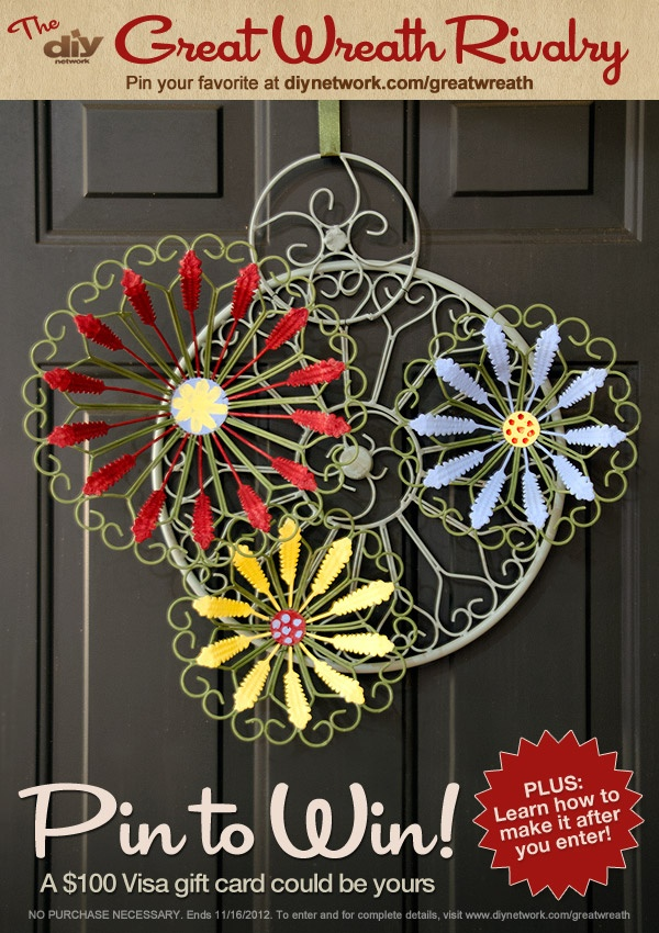 Pin a wreath and you could win a Visa gift card! Enter DIY Network's Great Wreath Rivalry at http://www.diynetwork.com/great-wreath-rivalry/package/index.html?soc=pinterest-greatwreath #diy #wreath  Love this one!