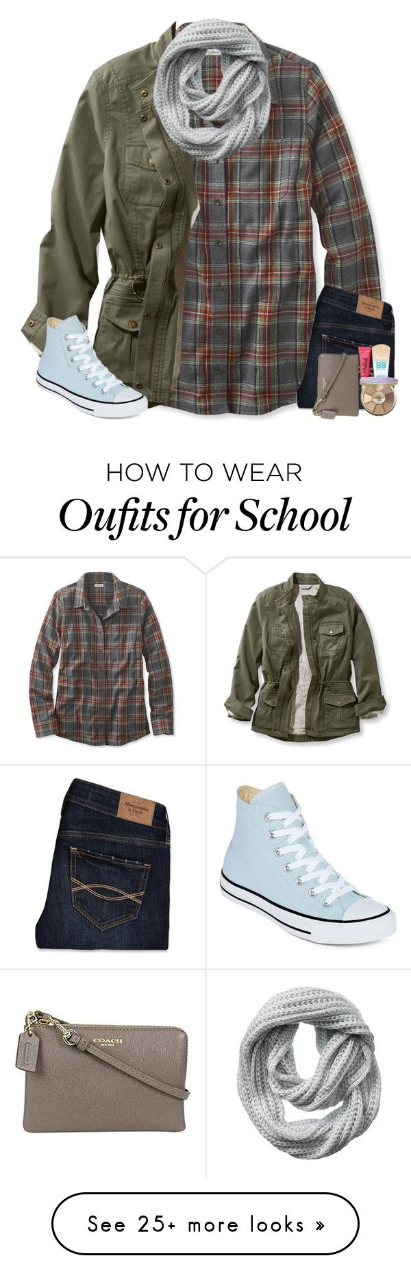"""we got out of school for sickness "" by simply-positive-prep on Polyvore featuring L.L.Bean, Vincent Pradier, Converse, Abercrombie & Fitch, Maybelline, tarte, Coach and plus size clothing"