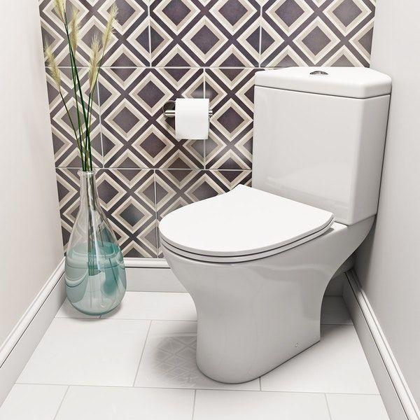 Orchard Derwent Round Compact Corner Close Coupled Toilet With Slimline Soft Close Toilet Seat With Images Close Coupled Toilets Toilet For Small Bathroom Corner Toilet
