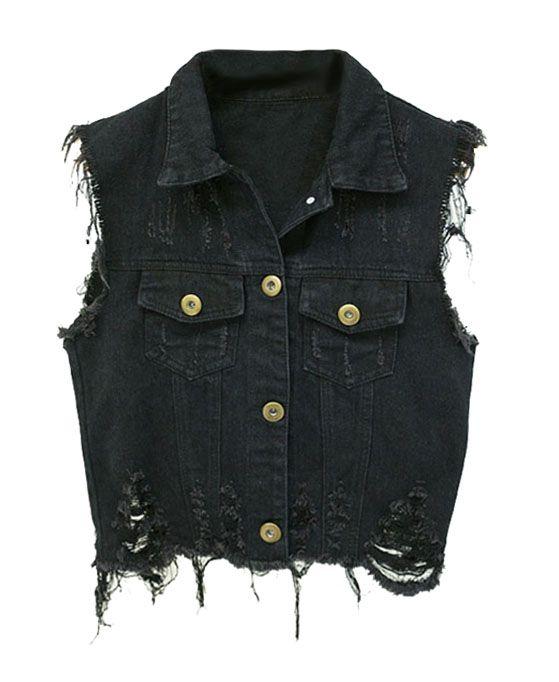 Vintage Black Distressed Denim Vests