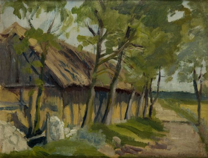 Hanna Rudzka-Cybisowa - Chaty w Ostrówkach, 1918 r.