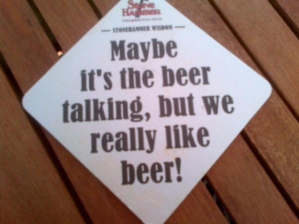 One of our new beer coasters!