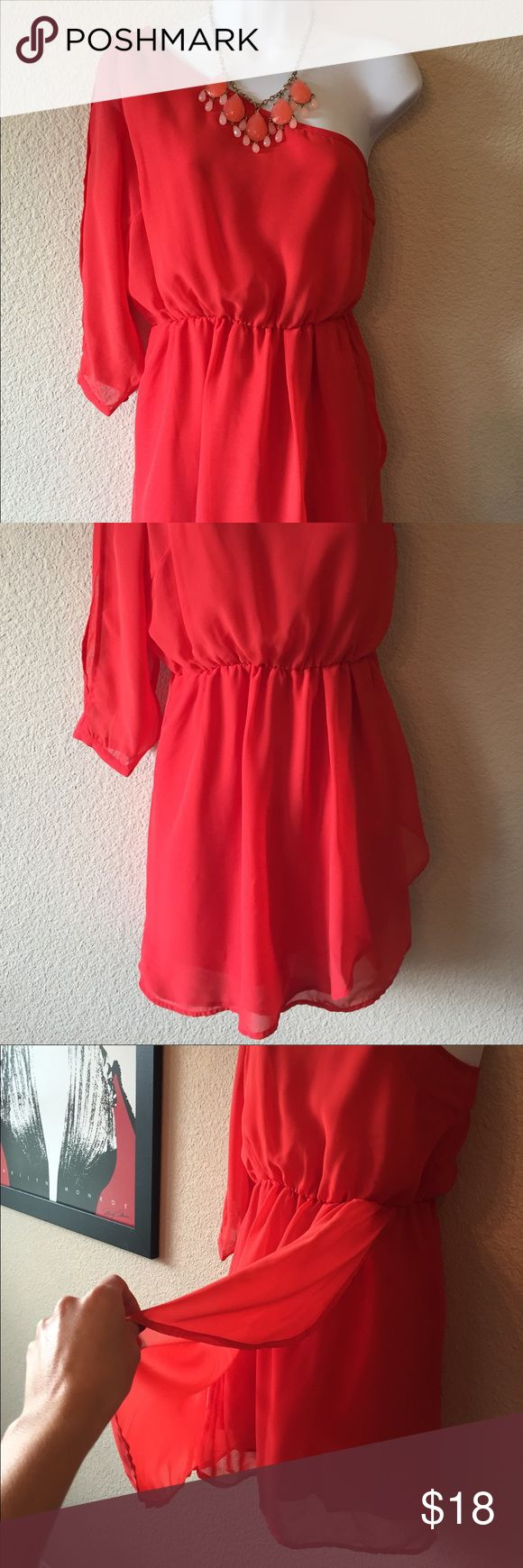 One shoulder dress-🎉Veterans Day sale🎉 Cute one shoulder bright orange dress for the summer. The sleeve is sheer with opening on top and bottom as shown in the last photo. Charlotte Russe Dresses One Shoulder