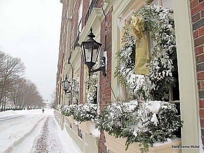 Winter in Salem, MA at Hawthorne Hotel. Great little pub inside Nathaniel Tavern. Favorite table right beside the oversized fireplace. Best drink the black cat!