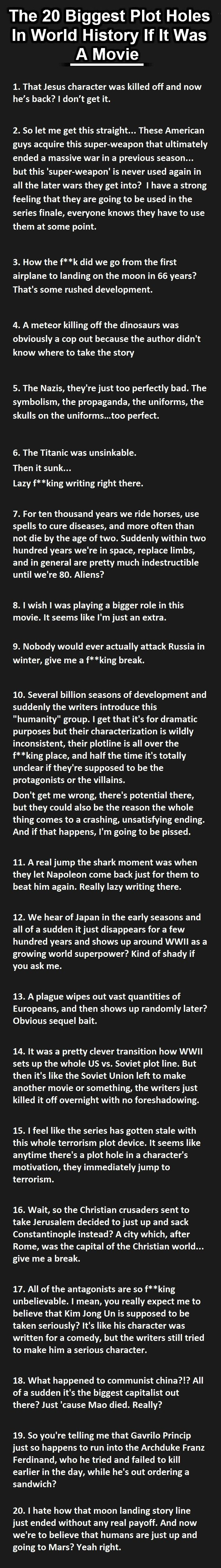 If Human History Were TV Show - My thoughts on this
