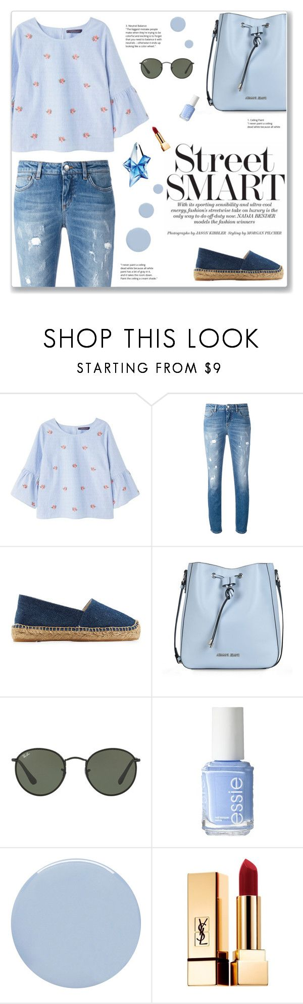 """""""."""" by here-comes-caroline ❤ liked on Polyvore featuring Violeta by Mango, Dolce&Gabbana, Castañer, Armani Jeans, Ray-Ban, Essie, Deborah Lippmann, Yves Saint Laurent and Thierry Mugler"""