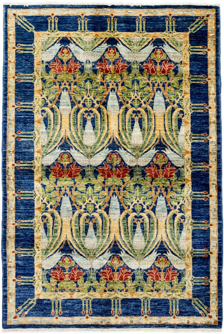 Arts and Crafts design hand knotted area rug. Traditional Transitional Bohemian Decor area throw rug.