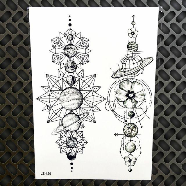 eeefcb482 Black Waterproof Geometric Planets Temporary Tattoo Star Moon Space  Universe Men Women Arm Sleeve Fake Tattoo Stickers GLZ 129-in Temporary  Tattoos from ...