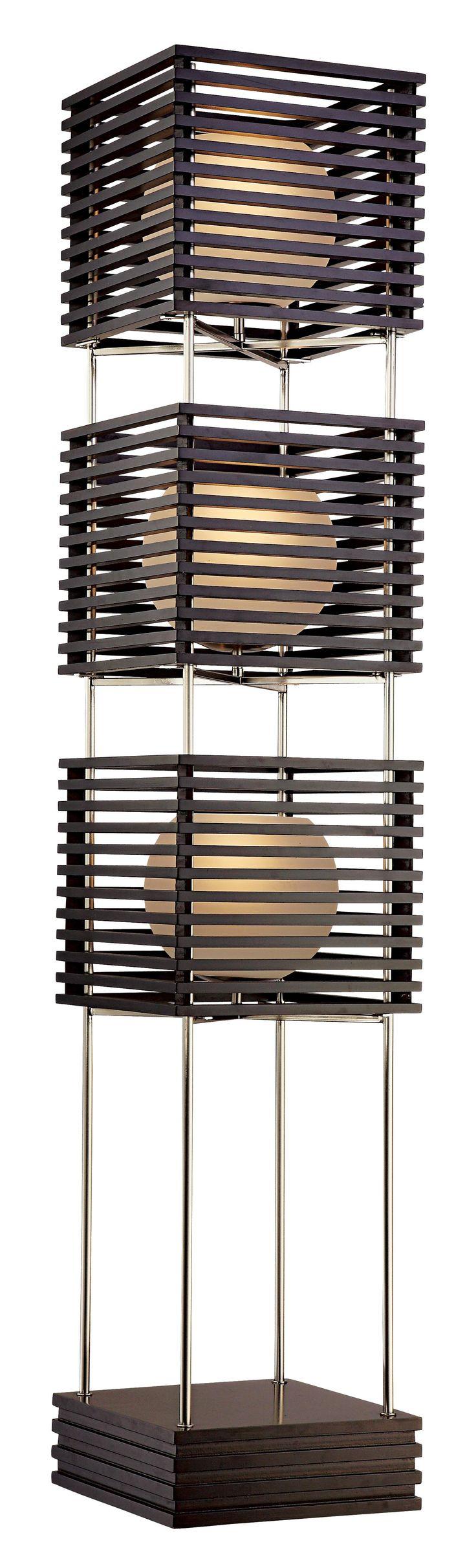 Possini Euro Three Tier Wood Slat Frosted Glass Floor Lamp - $499.99