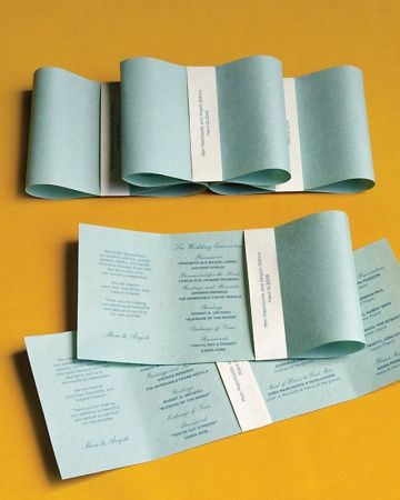 One letter-size sheet yields two programs, arrange your text horizontally on the page in landscape mode over four columns. Cut the sheet in half, wrap a 10-by-7/8-inch band around the center, and tape in back. Bend the ends of each program toward the center and tuck them under the band, making sure they overlap slightly.