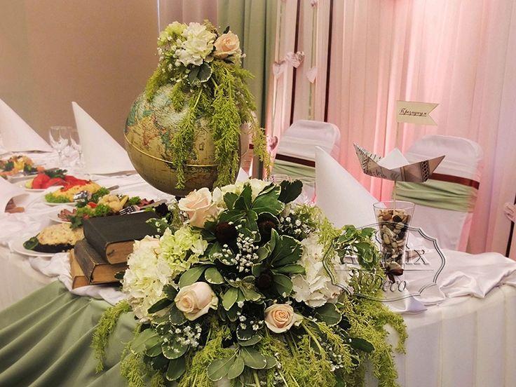 """Аксессуары для свадьбы в стиле """"Путешествия"""". Идея свадебного оформления, глобус на столе жениха и невесты"""