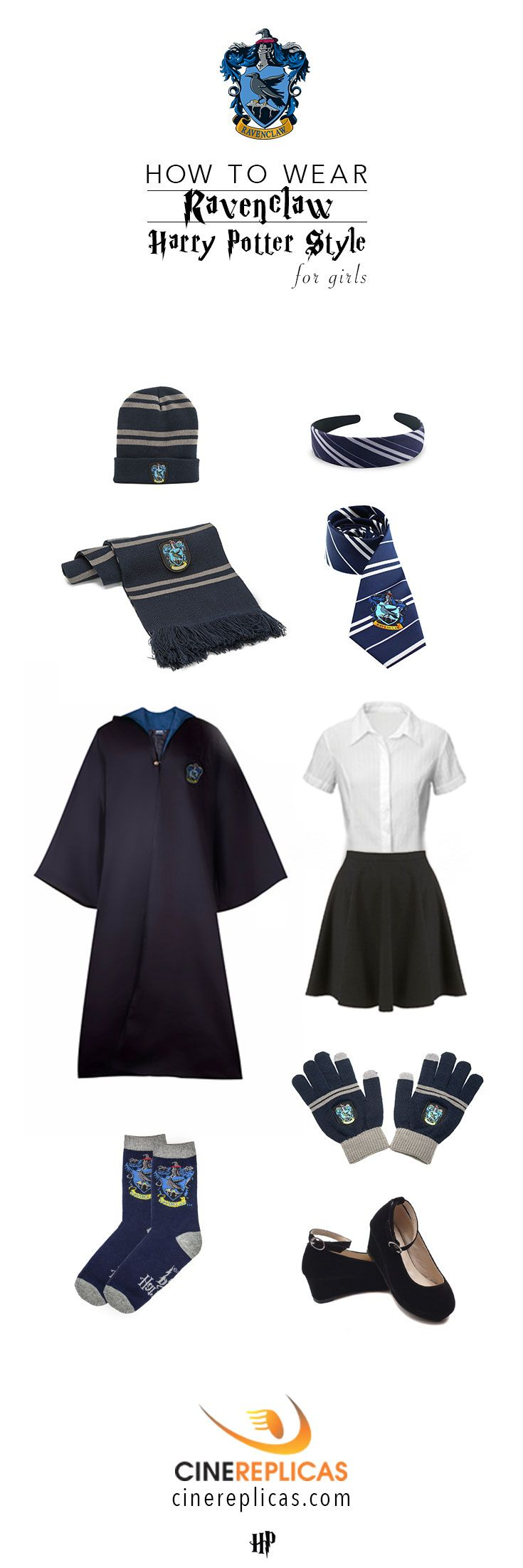 Ravenclaw Harry Potter Style for Girls #HarryPotter #Ravenclaw www.cinereplicas.com