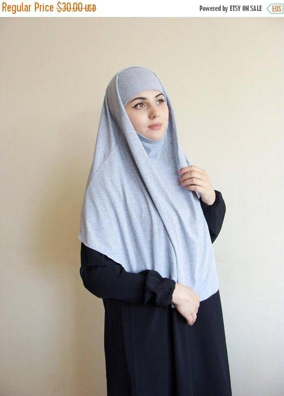 10% OFF Grey melange tie khimar traditional hijab 1 piece