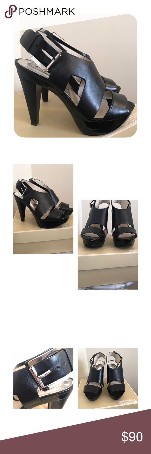 "⭐️New listing⭐️ NIB Michael Kors heel 7.5❤️ New in the box, only worn in store. Black leather Michael Kors sandal heel size 7.5. 4"" wooden heel. Beautiful shoes! ❤️ Michael Kors Shoes Heels"