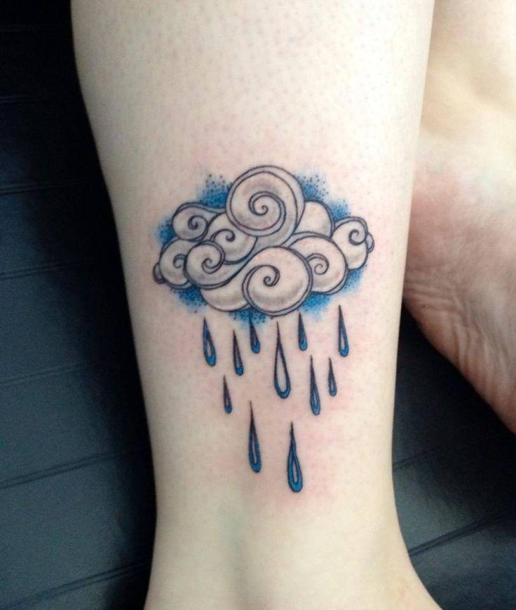 Custom Tattoo by Josh in Portland, OR. Oregon Rain Cloud Tattoo. O.Boy.Studios