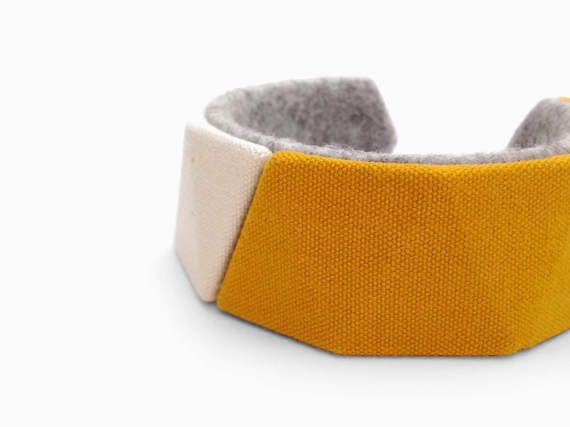 canvas bracelet bangle felt natural unbleached cotton by FodCraft