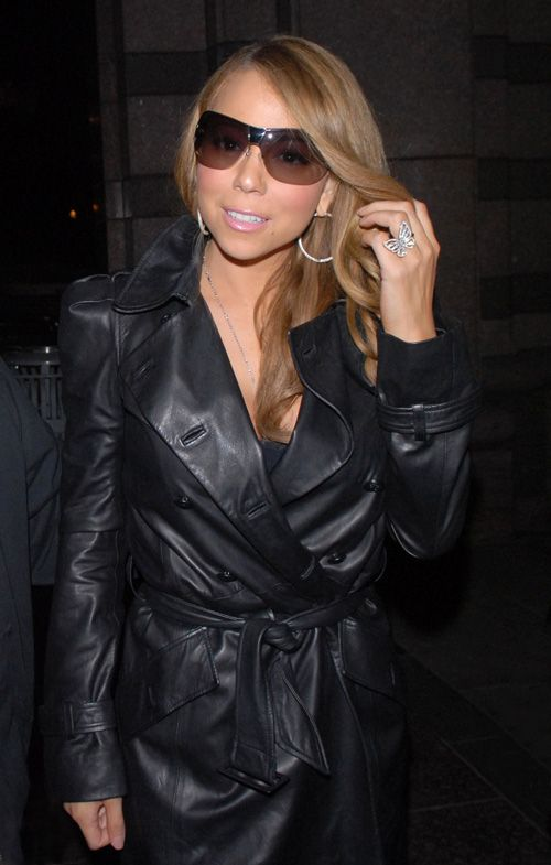 Mariah Carey's leather trench