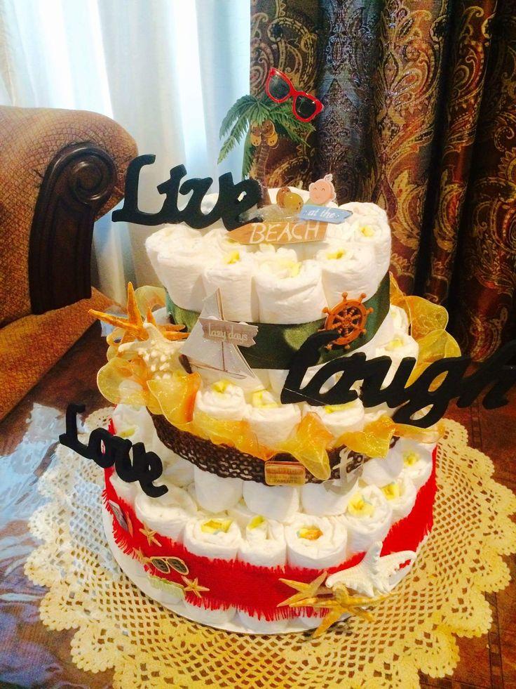 Island themed diaper cake baby shower rasta diaper cake