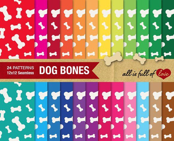24 Dog Bone Background Textures by All is full of Love on @creativemarket