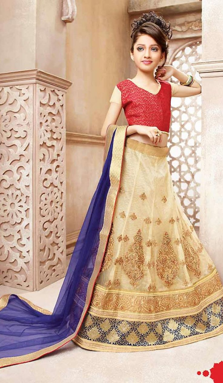Beige Color Net A Line Kids Girls Lehenga Cholis you are able to see some intriguing patterns completed with lace & resham work.comes with matching dupatta.