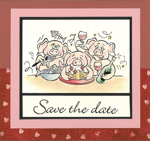 Stamp-it Australia: 4001F Party Pigs, 4088D Save the Date - Card by Susan