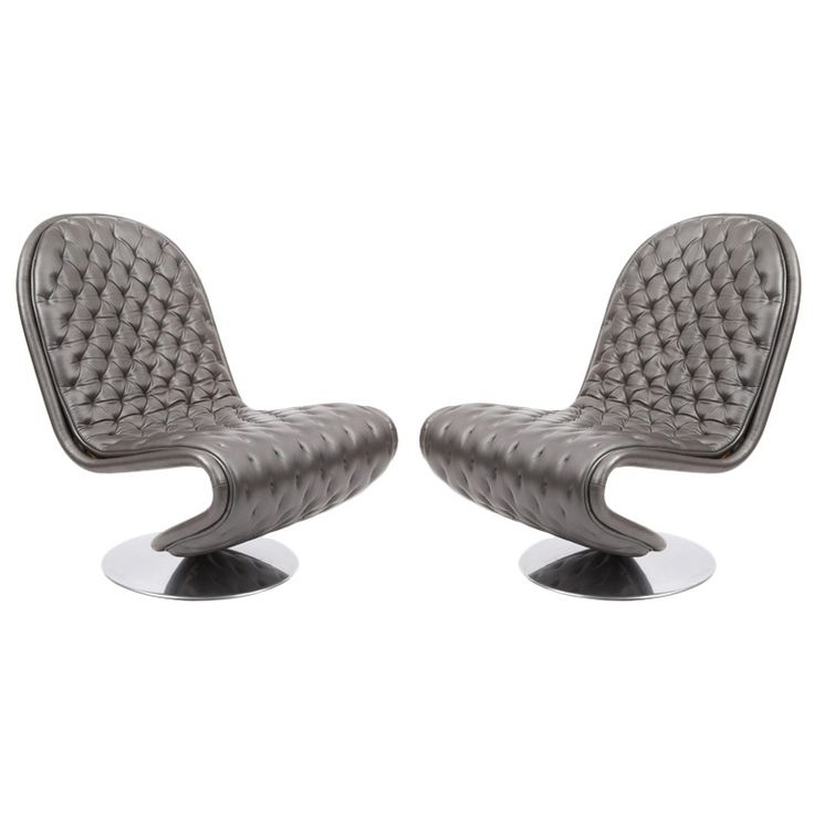 Verner Panton Leather 123 Lounge Chairs