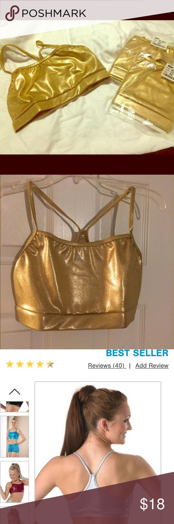 NEW Metallic Gold Sports Bra (Dance Attire). Beautiful, metallic gold dance sport bras. NWT. Never worn. Size Small. Great for dance team performance, gymnastics, cheer,  exercise or Halloween costume. Tops
