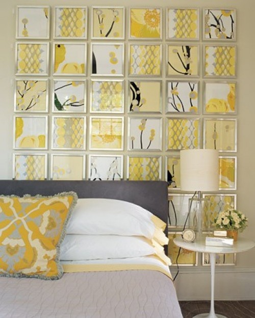 This is a wonderful wall and inexpensive to create. Using printed wallpaper or wrapping paper and inexpensive frames this look makes a real statement!Wall Art, Ideas, Wall Decor, Wallart, Colors, Frames Fabrics, Scrapbook Paper, Yellow, Bedrooms