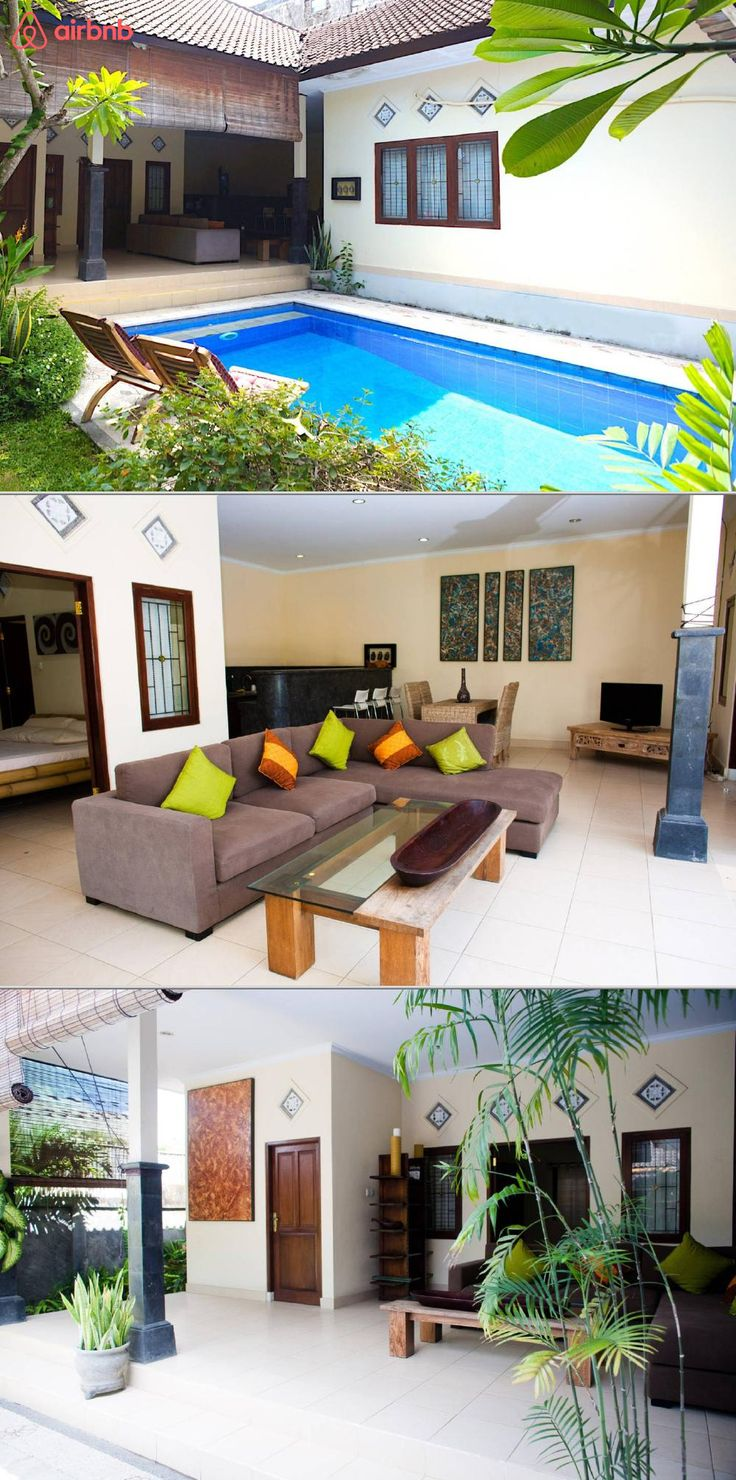A Balinese style villa with a private pool, and garden. It's a 10 minutes' walk from KuDeTa beach, and a 2 minutes' walk to Seminyak's best shops, restaurants, and bars. It has two bedrooms, two bathrooms, and an open plan kitchen.
