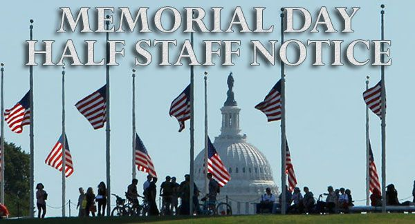 memorial day flag half staff noon