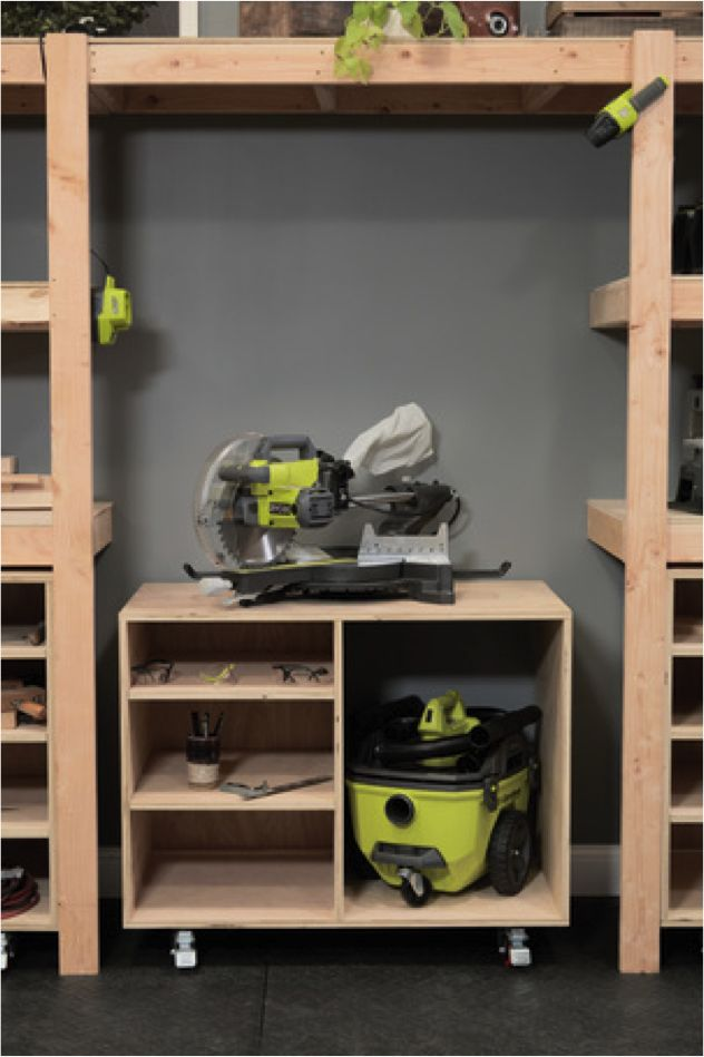 #DIY Miter Saw Cart by Ana White. Download plans at Ryobi Nation Dream Workshop and make this versatile piece of shop equipment.