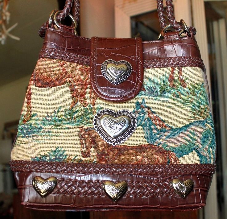 Texas Leather Brown Horse Tapestry Fabric Silver Hearts Handbag #TexasLeather #BucketBag