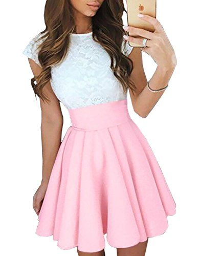 Boutiquefeel Damen Trendy Splicing Hohe Taille Pleated Lace Mini A-line Kleid